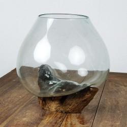 Vase en verre soufflé sur racine de Teck (VS-TECK-15)