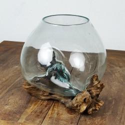 Vase en verre soufflé sur racine de Teck (VS-TECK-24)