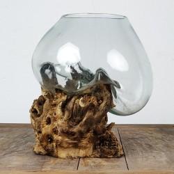 Vase en verre soufflé sur racine de Teck (VS-TECK-34)