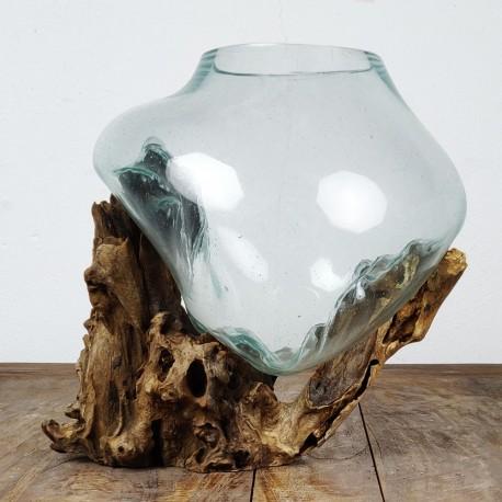 Vase en verre soufflé sur racine de Teck (VS-TECK-44)