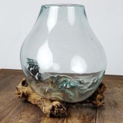 Vase en verre soufflé sur racine de Teck (VS-TECK-46)