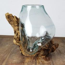 Vase en verre soufflé sur racine de Teck (VS-TECK-52)