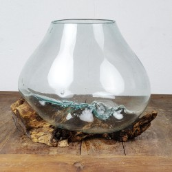 Vase en verre soufflé sur racine de Teck (VS-TECK-56)