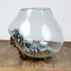 Vase en verre soufflé sur racine de Teck (VS-TECK-275)
