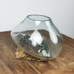 Vase en verre soufflé sur racine de Teck (VS-TECK-429)