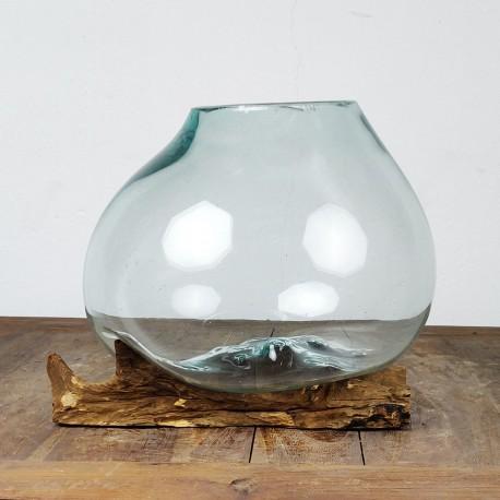 Vase en verre soufflé sur racine de Teck (VS-TECK-463)