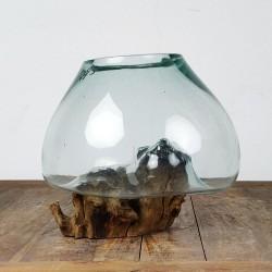 Vase en verre soufflé sur racine de Teck (VS-TECK-468)