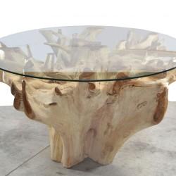 Table racine en Teck et plateau en verre Ø185cm (TEC2008)