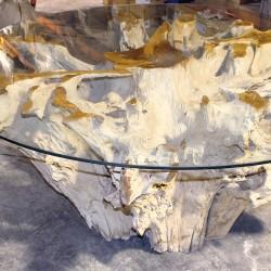 Table racine en Teck et plateau en verre Ø165cm (TEC2012)