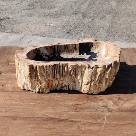 Vasque à poser 44x30 cm en bois pétrifié fossilisé intérieur noir (FOSS35-040BK)