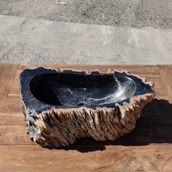 Vasque à poser 44x26 cm en bois pétrifié fossilisé intérieur noir (FOSS35-041BK)