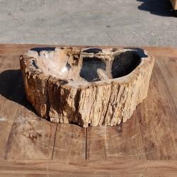 Vasque à poser 44x27 cm en bois pétrifié fossilisé (FOSS35-042BK)