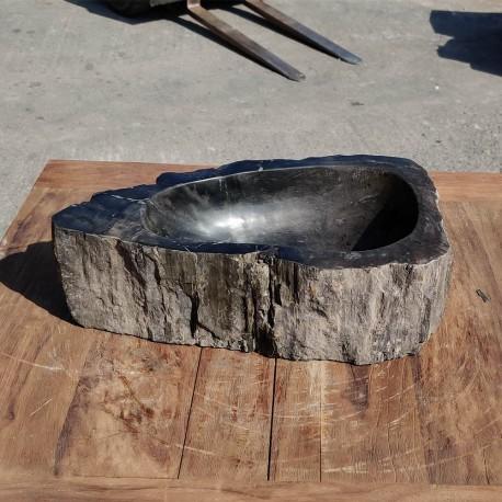 Vasque à poser 48x26 cm en bois pétrifié fossilisé (FOSS35-043BK)