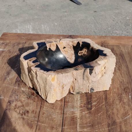 Vasque à poser 39x27 cm en bois pétrifié fossilisé (FOSS35-044BK)