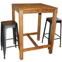 Table haute en Teck massif 80x80 cm (TEC3080)