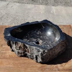 Vasque à poser 51x44 cm en bois pétrifié fossilisé intérieur noir (FOSS45-042BK)