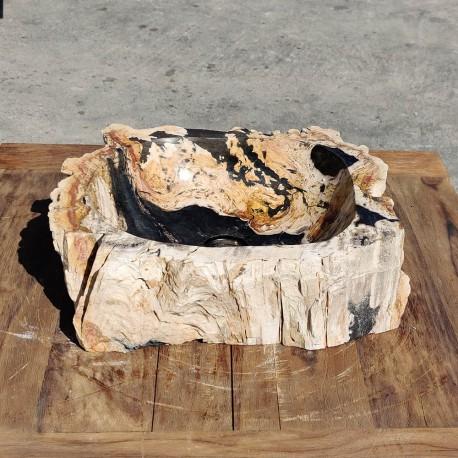 Vasque à poser 46x40 cm en bois pétrifié fossilisé (FOSS45-043BK)