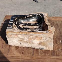 Vasque à poser 43x42 cm en bois pétrifié fossilisé (FOSS45-046BK)