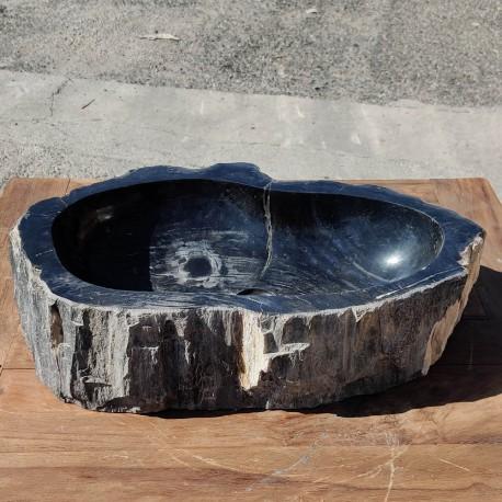Vasque à poser 57x38 cm en bois pétrifié fossilisé intérieur noir (FOSS55-040BK)
