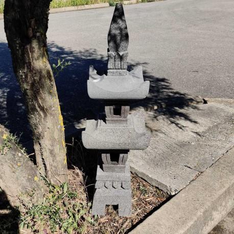 Lanterne japonaise en pierre de lave noir H85 cm (LJ-N07)