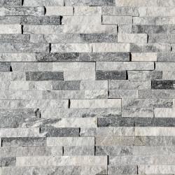 Parement pierre naturelle Blanc Gris strass 15x55 (PAR-PIER007)
