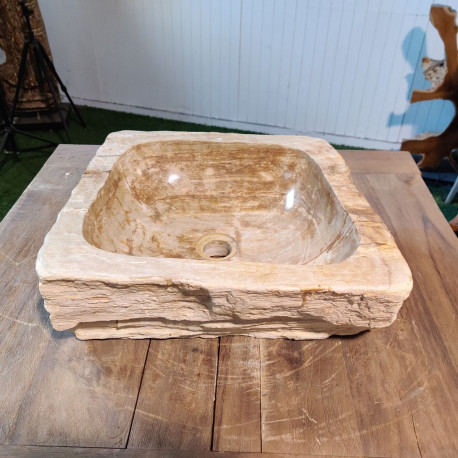 Vasque à poser 40x38 cm en bois pétrifié fossilisé (FOSS45-035YL)