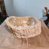 Vasque à poser 50x36 cm en bois pétrifié fossilisé (FOSS45-036YL)