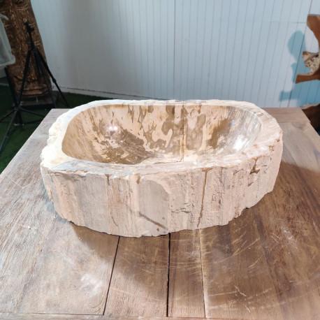 Vasque à poser 33x47 cm en bois pétrifié fossilisé (FOSS45-037YL)