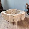 Vasque à poser 34x48 cm en bois pétrifié fossilisé (FOSS45-038YL)