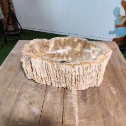 Vasque à poser 33x48 cm en bois pétrifié fossilisé (FOSS45-039YL)