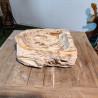 Vasque à poser 43x43 cm en bois pétrifié fossilisé (FOSS45-040YL)