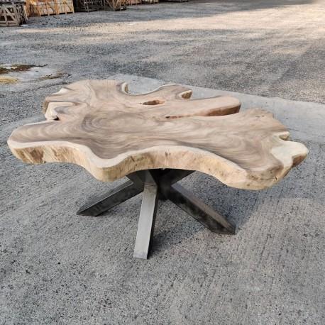 Table en bois de Suar ronde Ø193x163cm (RSUAR05-193)