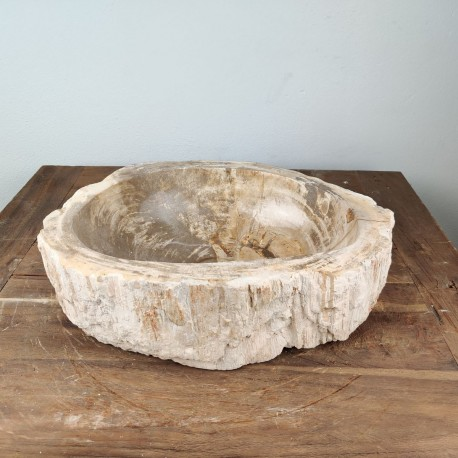 Vasque à poser 42x34 cm en bois pétrifié fossilisé (FOSS45-041YL)