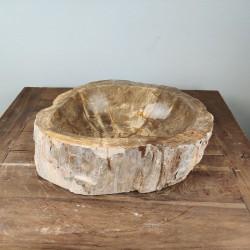 Vasque à poser 43x34 cm en bois pétrifié fossilisé (FOSS45-043YL)