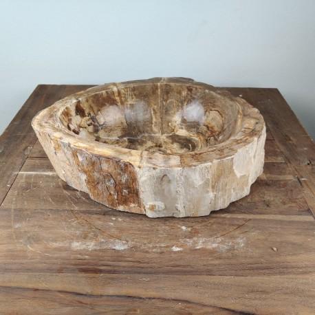 Vasque à poser 45x34 cm en bois pétrifié fossilisé (FOSS45-044YL)
