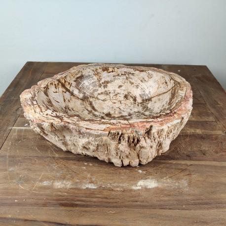 Vasque à poser 41x35 cm en bois pétrifié fossilisé (FOSS45-045YL)