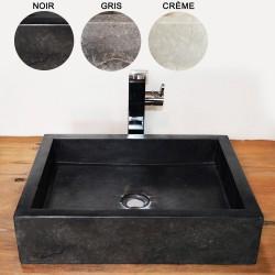 Vasque marbre rectangulaire 50 cm sans trou robinet (VASQ50ST)