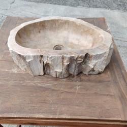 Vasque à poser 54x34 cm en bois pétrifié fossilisé (FOSS55-036YL)
