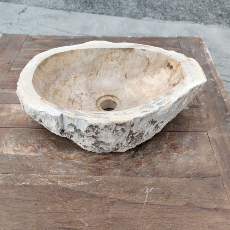 Vasque à poser 43x31 cm en bois pétrifié fossilisé (FOSS45-050YL)