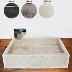 Vasque marbre rectangulaire 50 cm sans trou robinet (VASM50ST)