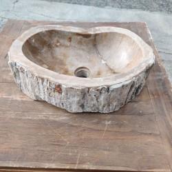 Vasque à poser 50x30 cm en bois pétrifié fossilisé (FOSS45-056YL)