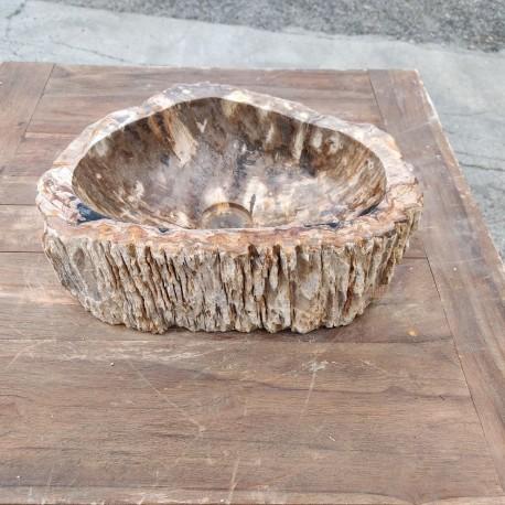 Vasque à poser 41x31 cm en bois pétrifié fossilisé (FOSS45-060YL)