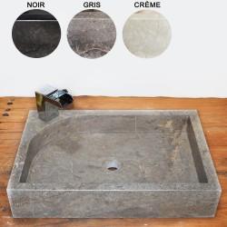 Vasque marbre rectangulaire 60 cm avec trou robinet (VASQ60AT)