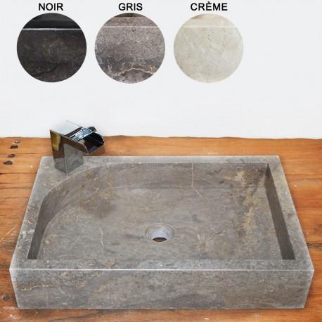 Vasque marbre rectangulaire 60 cm avec trou robinet (VASM60AT)