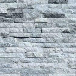 Parement pierre Quartzite gris blanc strass 15x55 (PIER-G010)