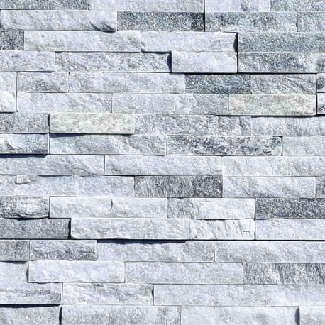 Parement pierre Quartzite gris blanc strass 10x36 (PIER-P009)