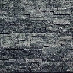 Parement pierre Quartzite noir strass 10x36 (PIER-P012)