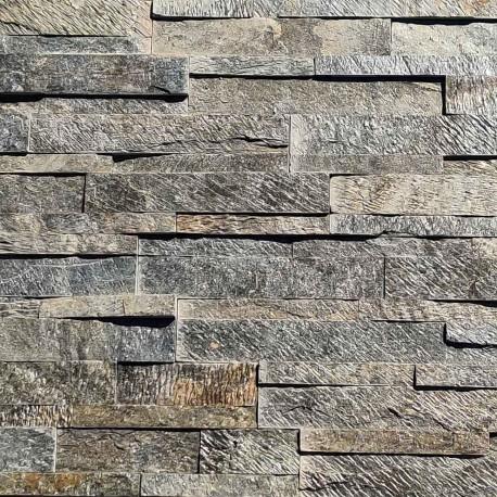 Parement pierre Quartzite gris beige mix 15x60 (DEOLI-GREEN)