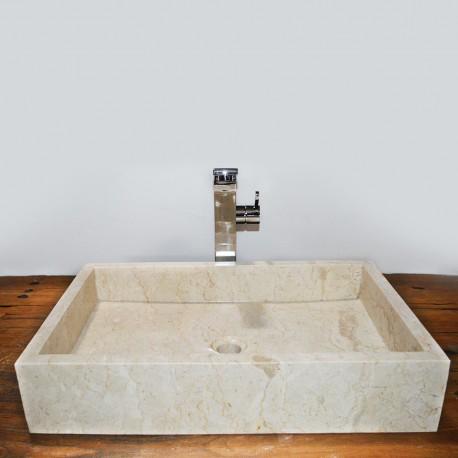 Vasque marbre rectangulaire 60 cm sans trou robinet (VASQ60ST)
