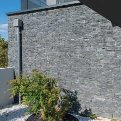 Parement forte épaisseur pierre Ardoise noir 20x55 (BLACK-SLATE)